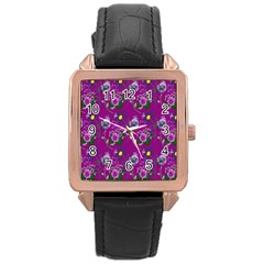 Flower Pattern Rose Gold Leather Watch  by Nexatart
