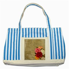 Flower Floral Bouquet Background Striped Blue Tote Bag by Nexatart