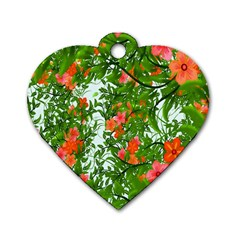 Flower Background Backdrop Pattern Dog Tag Heart (one Side) by Nexatart