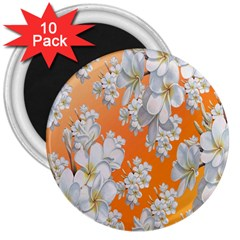 Flowers Background Backdrop Floral 3  Magnets (10 Pack)  by Nexatart