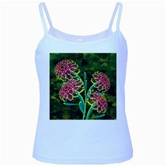 Flowers Abstract Decoration Baby Blue Spaghetti Tank