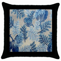 Flowers Blue Patterns Fabric Throw Pillow Case (black)