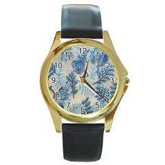Flowers Blue Patterns Fabric Round Gold Metal Watch