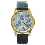 Flowers Blue Patterns Fabric Round Gold Metal Watch Front