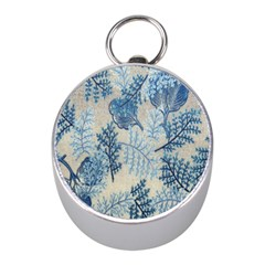 Flowers Blue Patterns Fabric Mini Silver Compasses