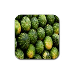 Food Summer Pattern Green Watermelon Rubber Square Coaster (4 Pack)  by Nexatart