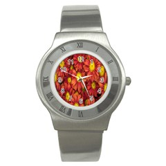 Flowers Nature Plants Autumn Affix Stainless Steel Watch