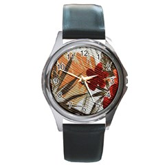 Fall Colors Round Metal Watch
