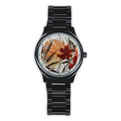 Fall Colors Stainless Steel Round Watch