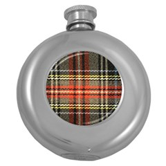 Fabric Texture Tartan Color Round Hip Flask (5 Oz)