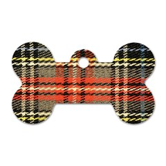 Fabric Texture Tartan Color Dog Tag Bone (one Side) by Nexatart