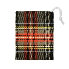 Fabric Texture Tartan Color Drawstring Pouches (large)
