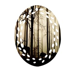 Forest Fog Hirsch Wild Boars Ornament (oval Filigree) by Nexatart