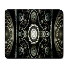 Fractal Beige Blue Abstract Large Mousepads