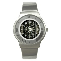 Fractal Beige Blue Abstract Stainless Steel Watch by Nexatart