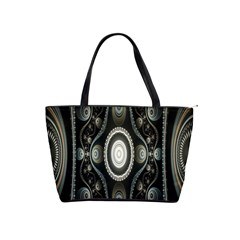 Fractal Beige Blue Abstract Shoulder Handbags
