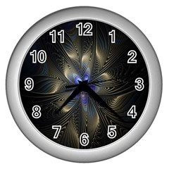 Fractal Blue Abstract Fractal Art Wall Clocks (silver)  by Nexatart