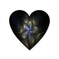 Fractal Blue Abstract Fractal Art Heart Magnet by Nexatart