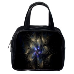 Fractal Blue Abstract Fractal Art Classic Handbags (one Side) by Nexatart