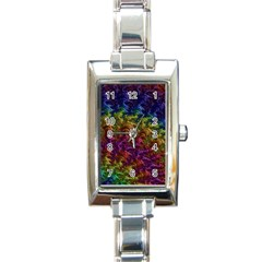 Fractal Art Design Colorful Rectangle Italian Charm Watch by Nexatart