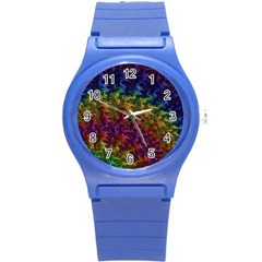 Fractal Art Design Colorful Round Plastic Sport Watch (s) by Nexatart
