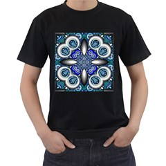Fractal Cathedral Pattern Mosaic Men s T Shirt (black) (two Sided)