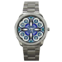 Fractal Cathedral Pattern Mosaic Sport Metal Watch by Nexatart