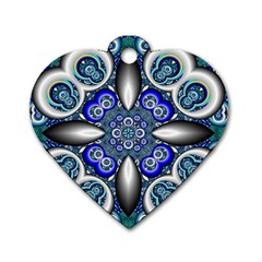 Fractal Cathedral Pattern Mosaic Dog Tag Heart (one Side)