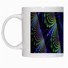 Fractal Blue Lines Colorful White Mugs