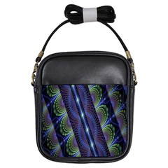 Fractal Blue Lines Colorful Girls Sling Bags by Nexatart