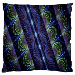 Fractal Blue Lines Colorful Large Flano Cushion Case (two Sides)