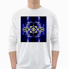 Fractal Fantasy Blue Beauty White Long Sleeve T Shirts by Nexatart