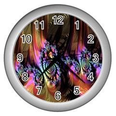 Fractal Colorful Background Wall Clocks (silver)  by Nexatart