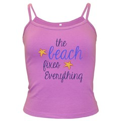 The Beach Fixes Everything Dark Spaghetti Tank by OneStopGiftShop