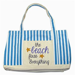 The Beach Fixes Everything Striped Blue Tote Bag by OneStopGiftShop