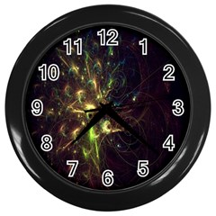 Fractal Flame Light Energy Wall Clocks (black) by Nexatart