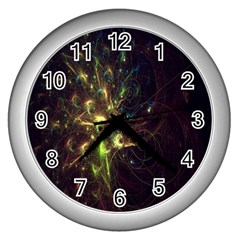 Fractal Flame Light Energy Wall Clocks (silver)  by Nexatart