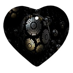Fractal Sphere Steel 3d Structures Heart Ornament (two Sides)