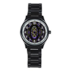 Fractal Sparkling Purple Abstract Stainless Steel Round Watch by Nexatart