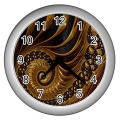 Fractal Spiral Endless Mathematics Wall Clocks (silver)  by Nexatart