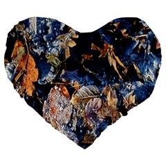 Frost Leaves Winter Park Morning Large 19  Premium Heart Shape Cushions by Nexatart