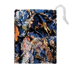 Frost Leaves Winter Park Morning Drawstring Pouches (extra Large)