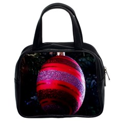 Glass Ball Decorated Beautiful Red Classic Handbags (2 Sides) by Nexatart