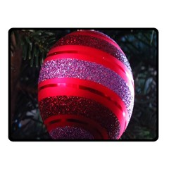 Glass Ball Decorated Beautiful Red Fleece Blanket (small) by Nexatart