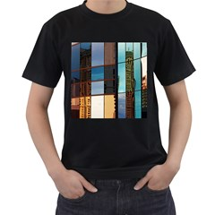 Glass Facade Colorful Architecture Men s T Shirt (black) (two Sided)