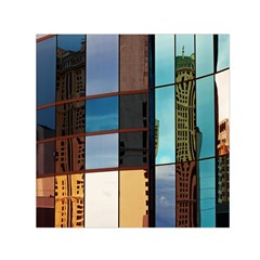 Glass Facade Colorful Architecture Small Satin Scarf (square) by Nexatart