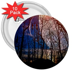 Full Moon Forest Night Darkness 3  Buttons (10 Pack)  by Nexatart