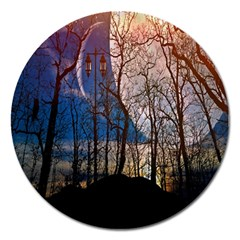 Full Moon Forest Night Darkness Magnet 5  (round) by Nexatart