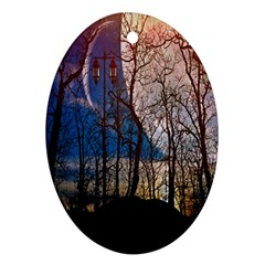 Full Moon Forest Night Darkness Oval Ornament (two Sides) by Nexatart