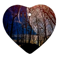 Full Moon Forest Night Darkness Heart Ornament (two Sides) by Nexatart